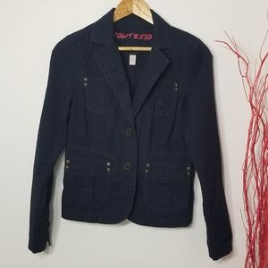 Point Zero | Blue Button Front Jacket with Pockets